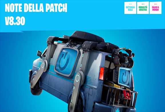 Fortnite: furgone di riavvio e nuova MAT nella patch 8.30