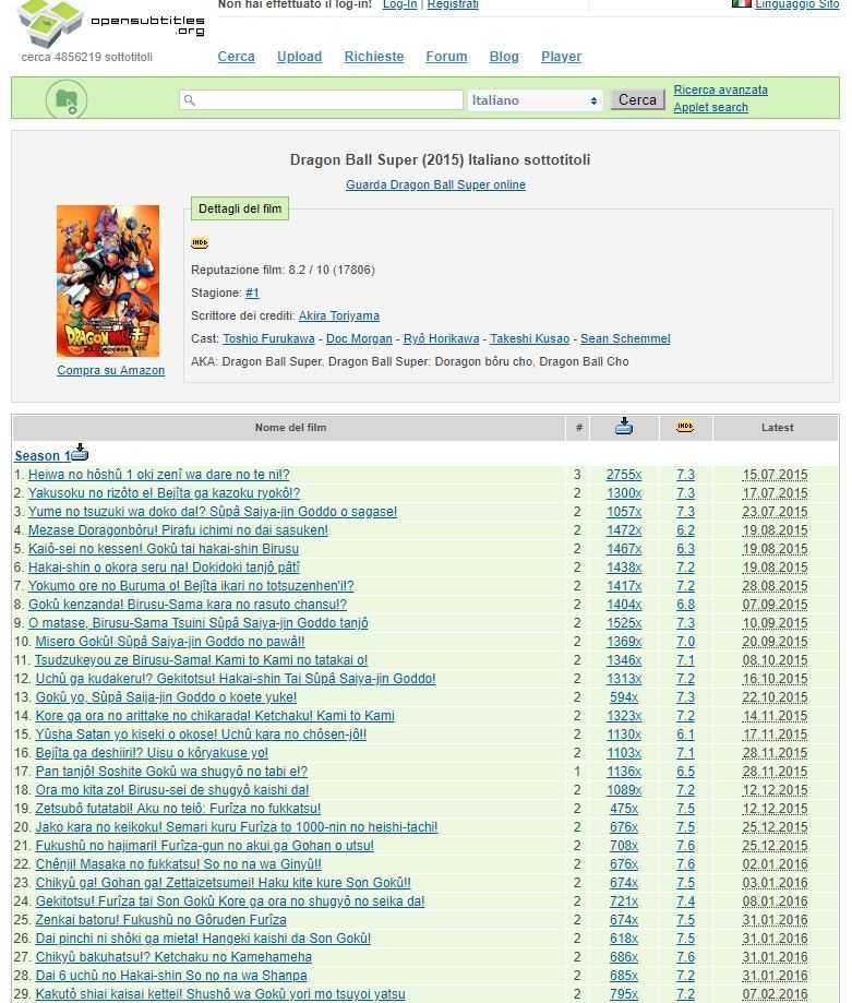 Dragon Ball Super: download sottotitoli (sub ita)