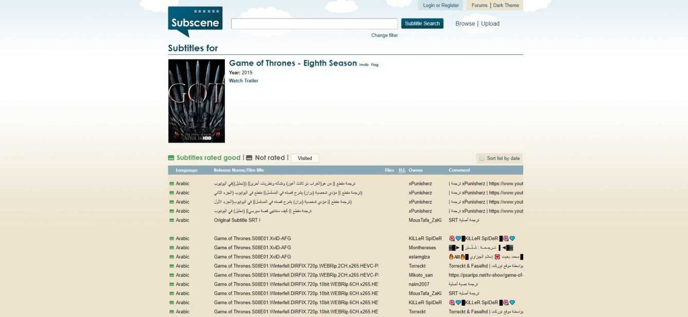 Game of Thrones 8: download sottotitoli (sub ita)