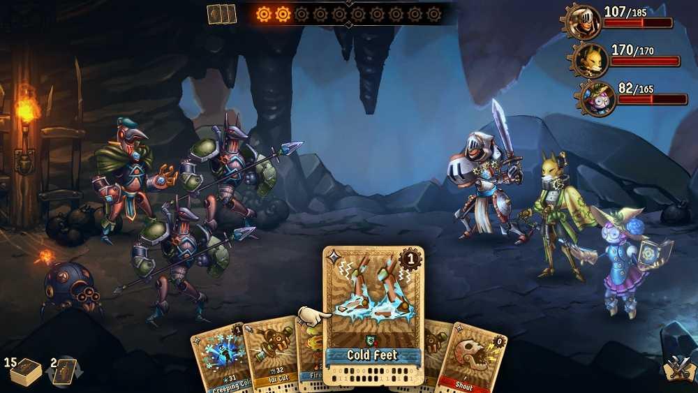 Recensione SteamWorld Quest: Hand of Gilgamech, carte steampunk