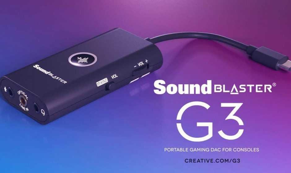 Sound Blaster G3: amplificatore DAC USB tascabile per PS4 e Nintendo Switch