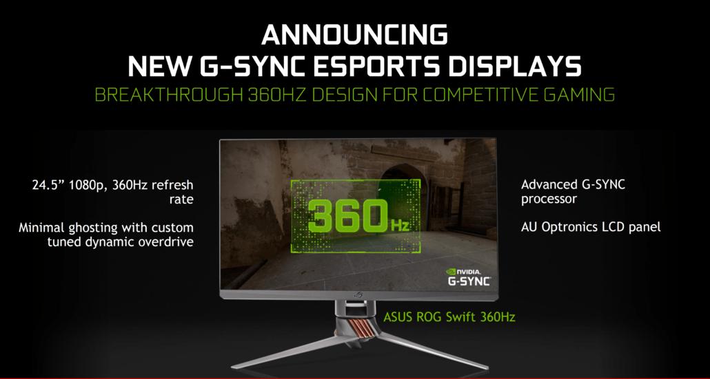 Asus ROG Swift 360: primo monitor al mondo con refresh rate di 360 Hz
