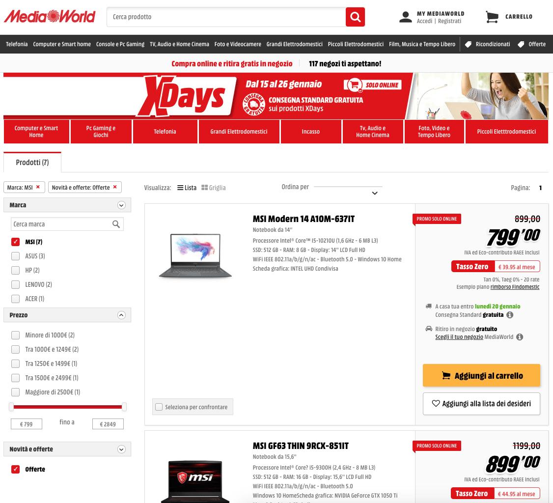 XDays MediaWorld: i laptop MSI a prezzi scontatissimi