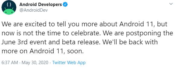 Beta Android 11: Google cancella l'evento di lancio