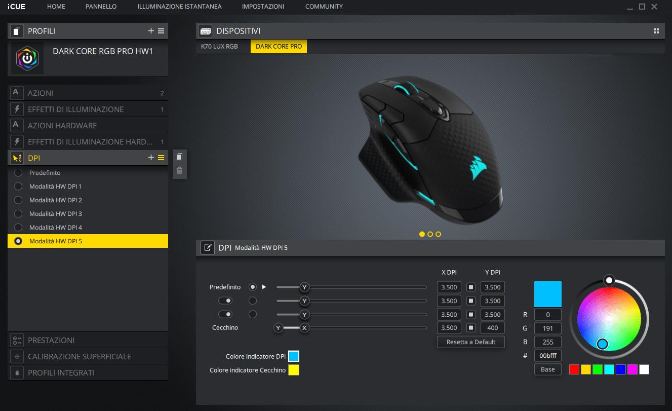 Recensione Corsair Dark Core RGB PRO: mouse da gaming