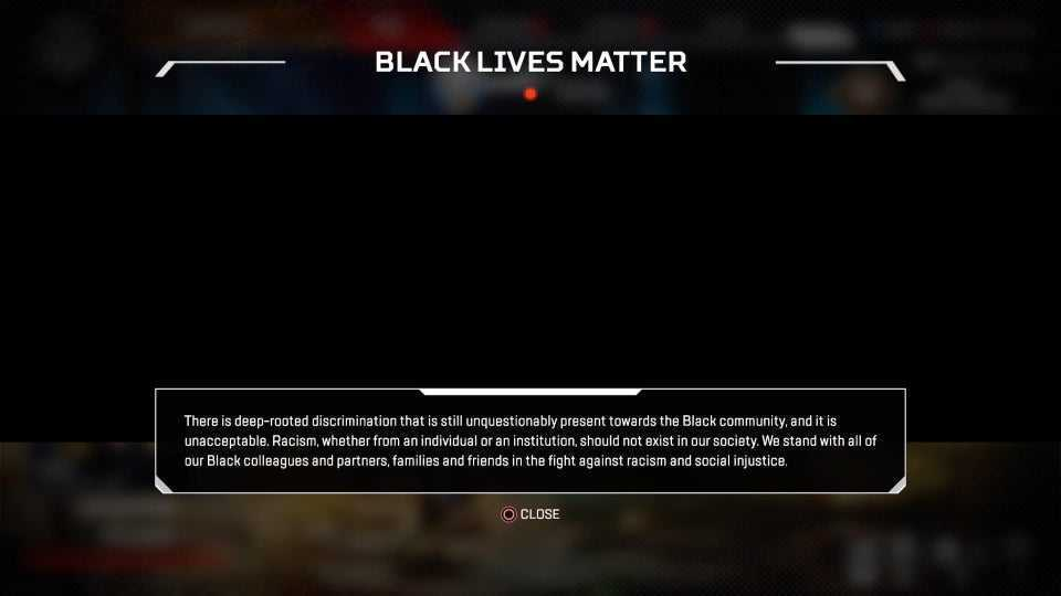 """Apex Legends: all'avvio trovere la schermata """"Black Lives Matter"""""""