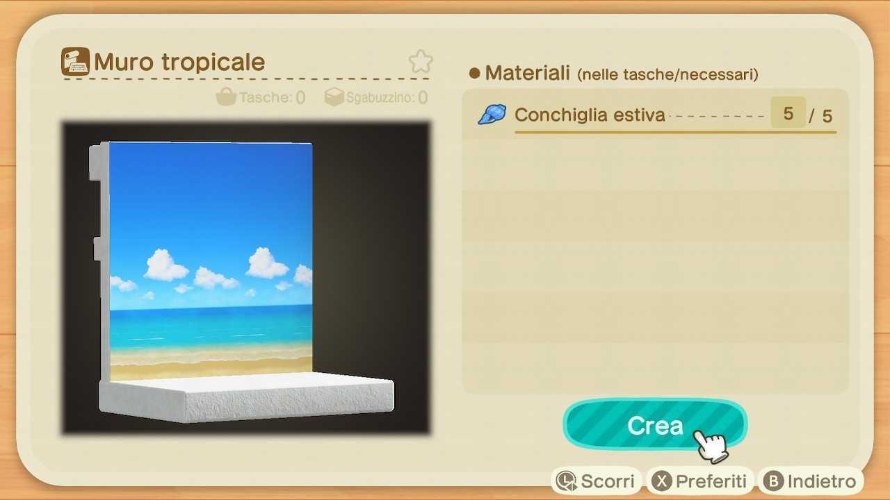 Animal Crossing: New Horizons, guida Progetti Conchiglie Estive