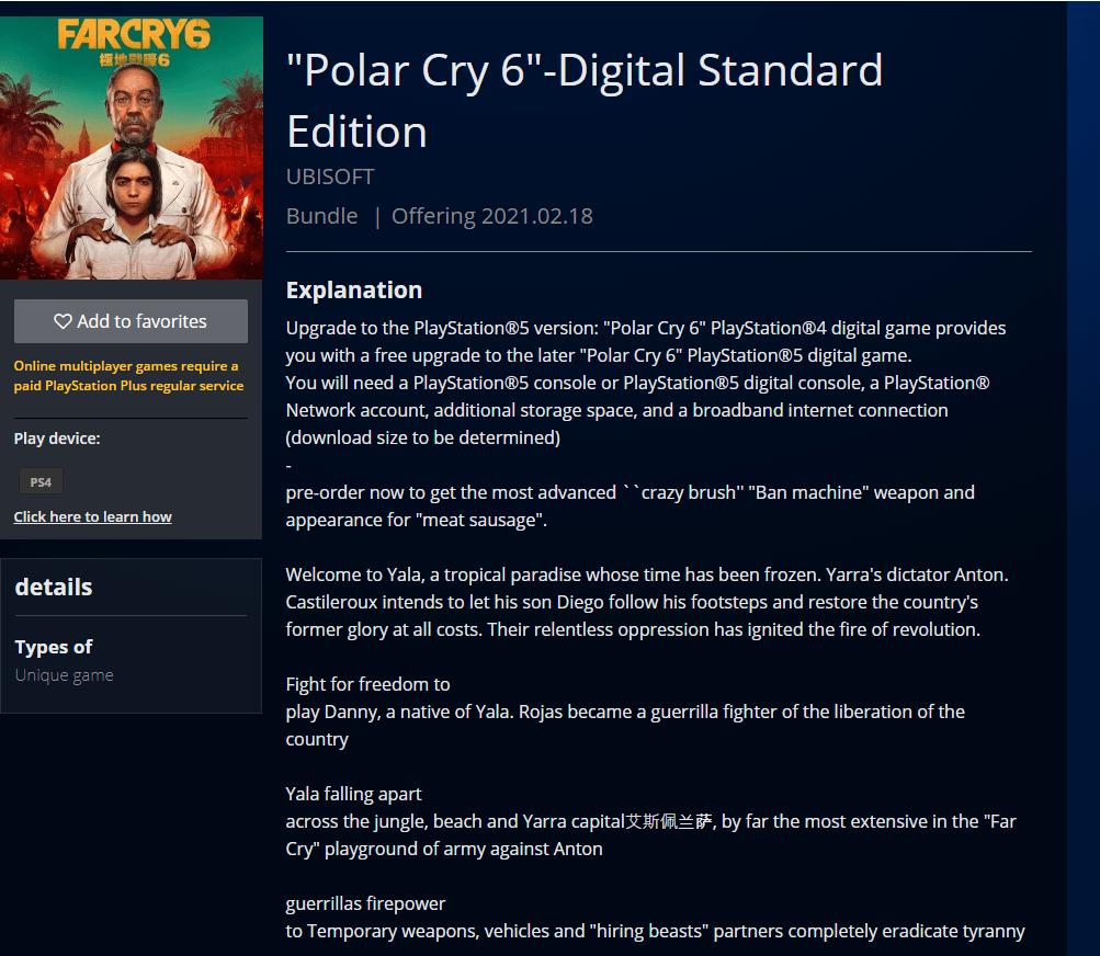 Far Cry 6: il titolo è comparso sul PS Store con tanto di data d'uscita!