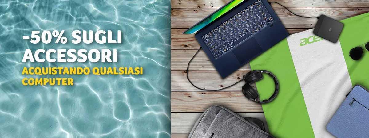 Acer: offerta estiva con -50% sugli accessori