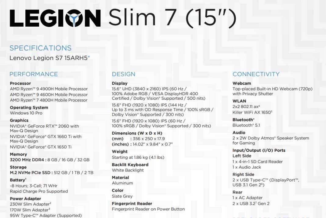 Lenovo Legion Slim 7: aggiornato con Ryzen 4000H e RTX 2060