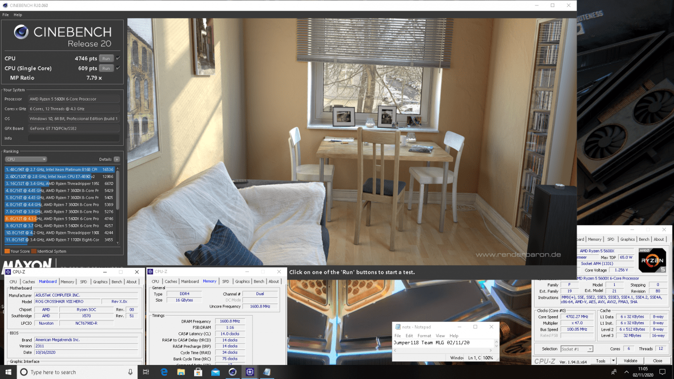 AMD Ryzen 5 5600X su benchmark Cinebench: meglio di i5 10600K in overclock