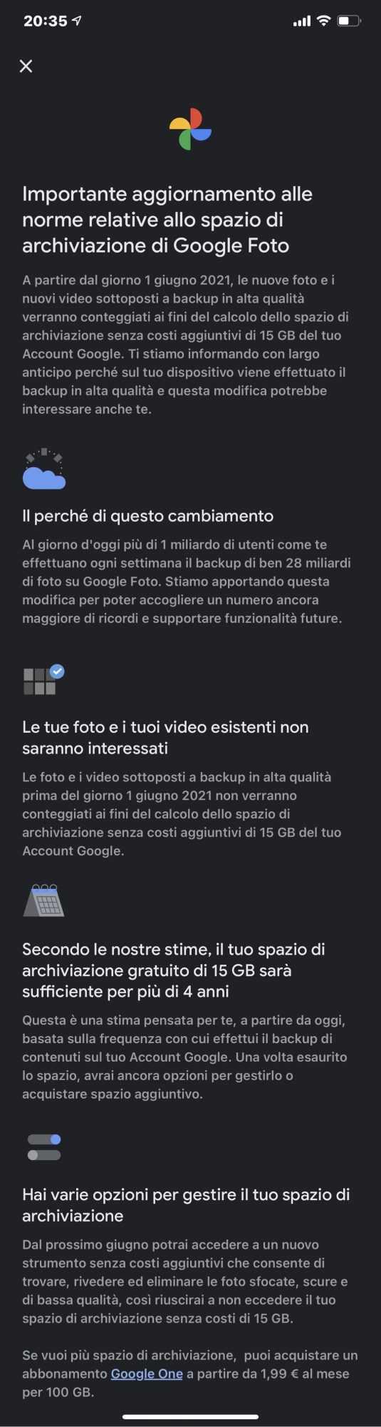 Google Foto: addio allo spazio di archiviazione gratuito e illimitato