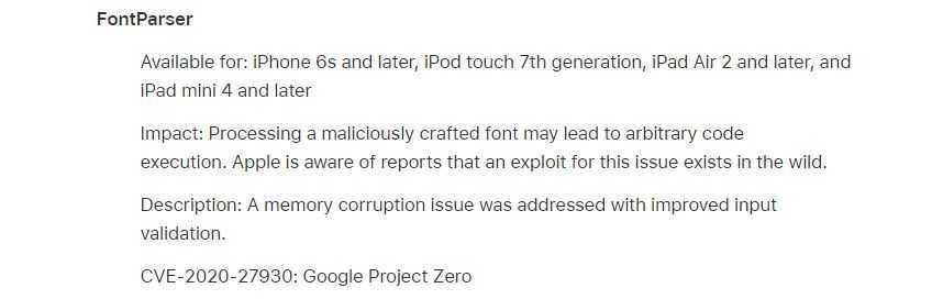 Apple: risolte tre vulnerabilità zero-day una sfruttabile da remoto