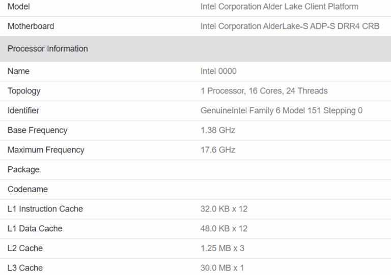Intel Alder Lake-S: spunta su Geekbench una CPU da 16 core e 24 thread