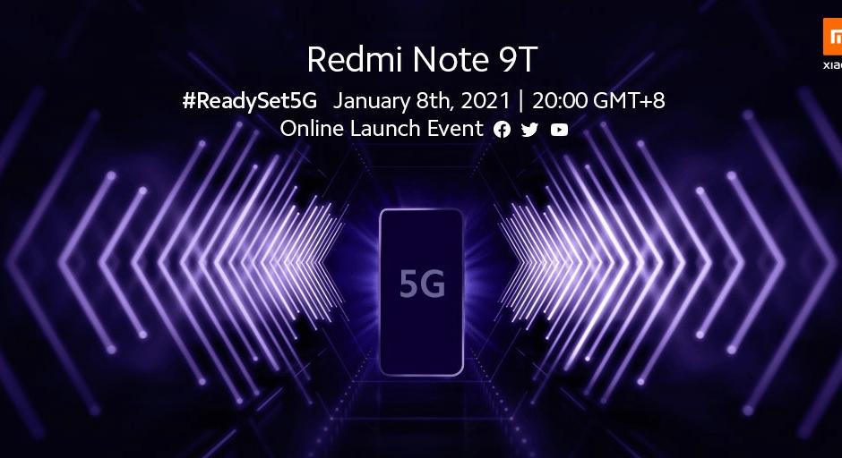 Xiaomi Redmi Note 9T: presentazione ufficiale l'8 gennaio
