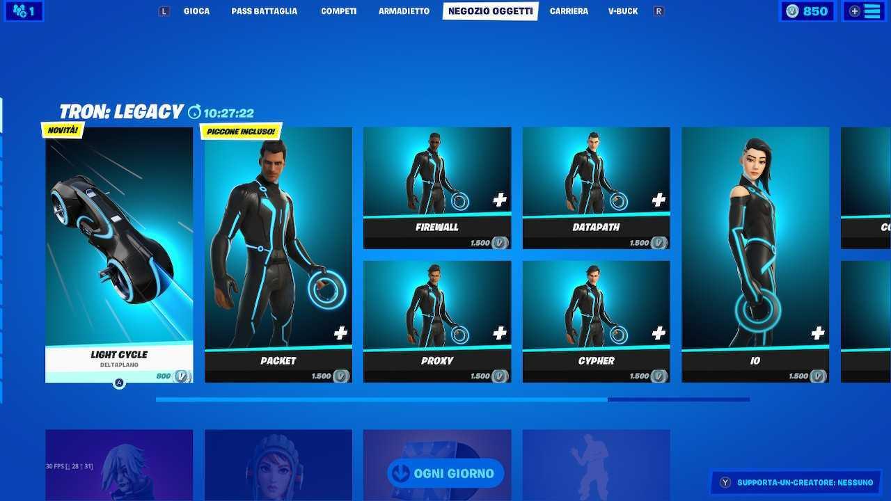 Fortnite, disponibili skin e contenuti da Tron Legacy