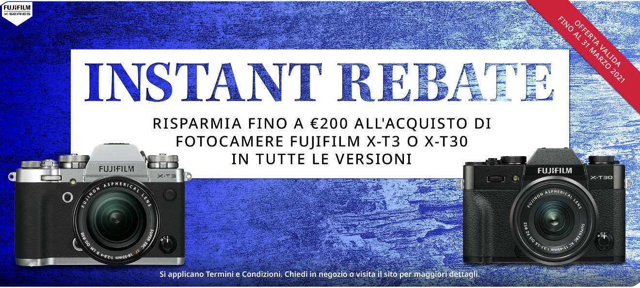 FUJIFILM Instant Rebate: X-T4, X-T3 e X-T30 in sconto!