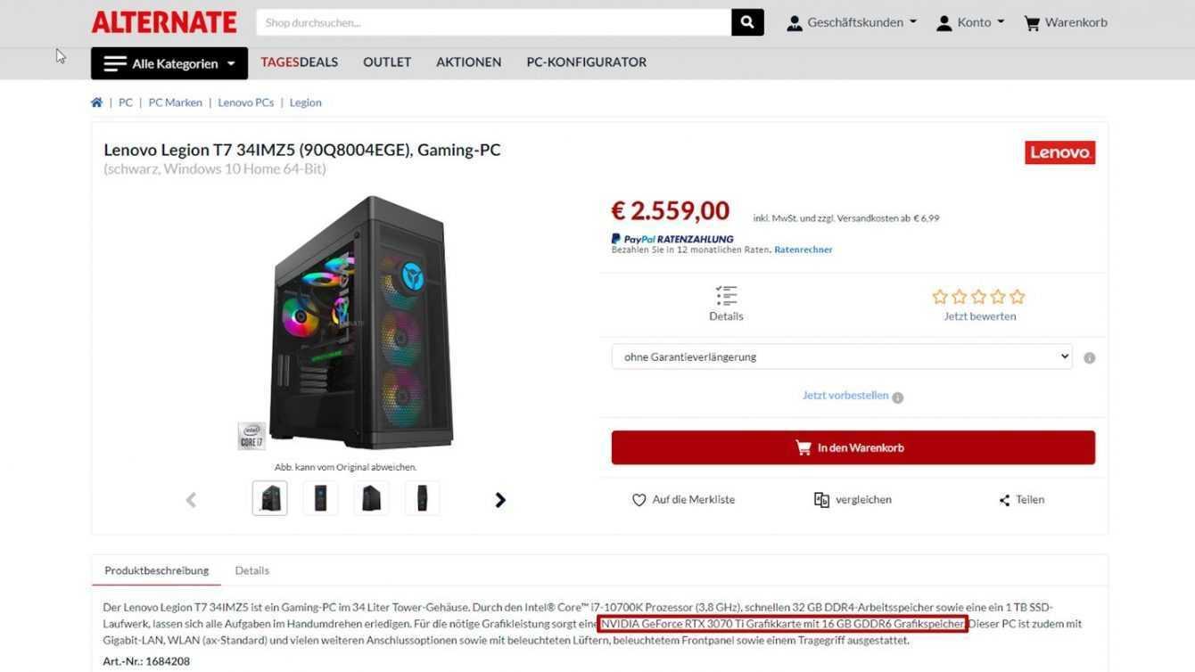 NVIDIA RTX 3070 Ti su PC Lenovo: errore o spoiler?