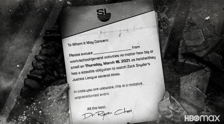 Zack Snyder's Justice League: arriva la lettera di giustificazione!