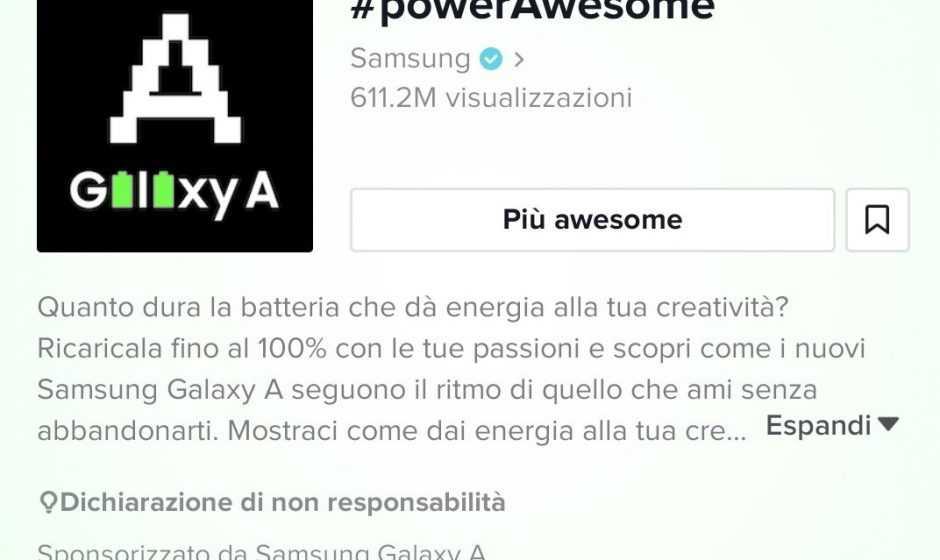 PowerAwesome Samsung Tiktok: la nuova sfida per i Galaxy A