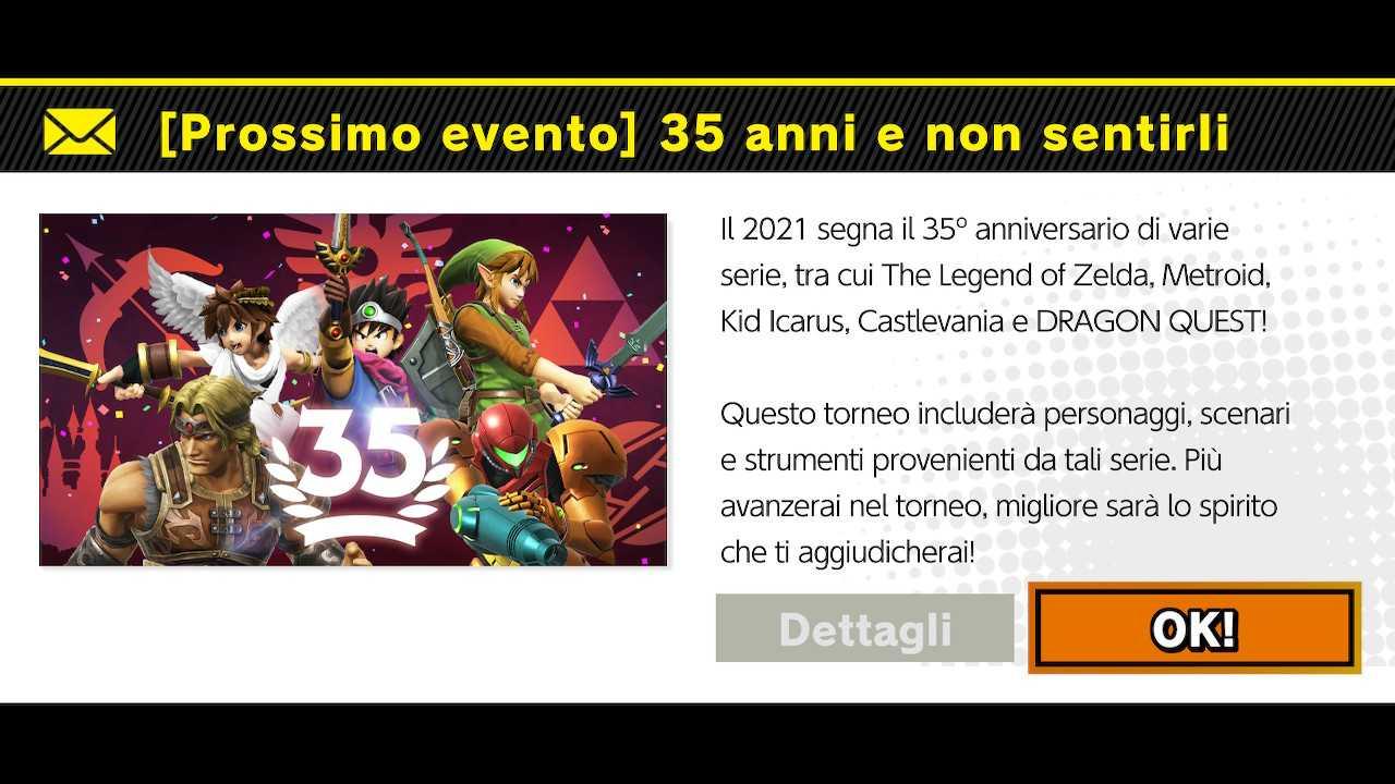 """Super Smash Bros. Ultimate: evento del weekend """"35 anni e non sentirli"""""""
