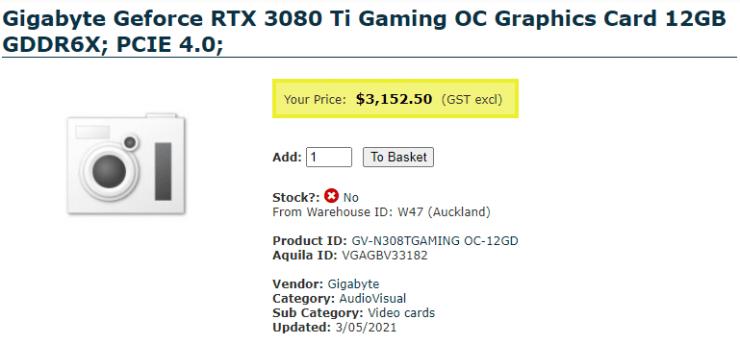 NVIDIA RTX 3080 Ti: prezzo delle custom da 1200 a 2200 dollari