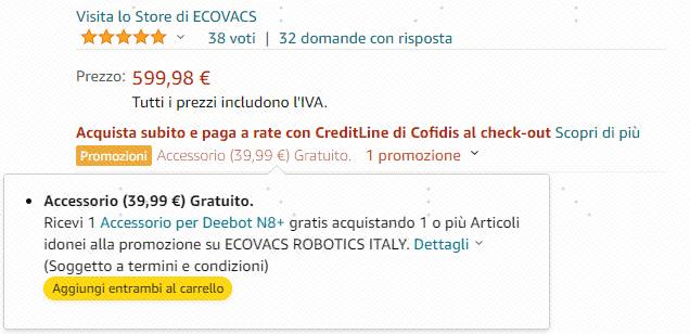 Ecovacs Robot Aspirapolvere DEEBOT N8+: promozione per gli accessori