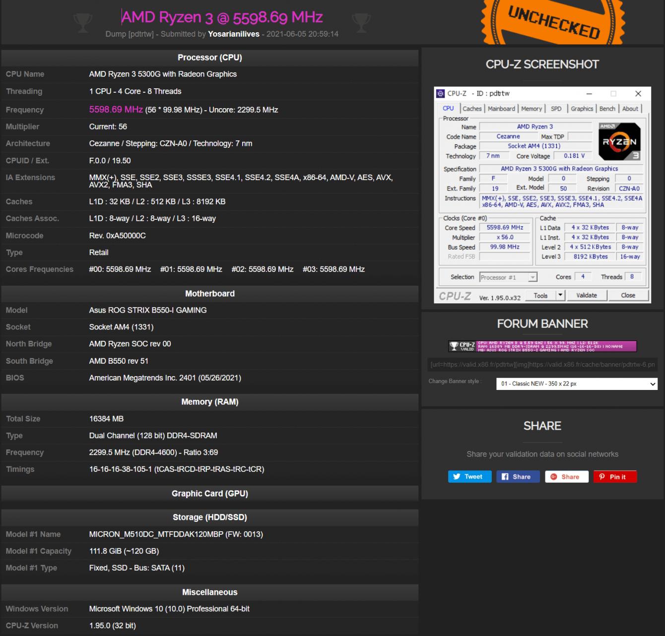 AMD Ryzen 3 5300G: touched the 5.6 GHz threshold!