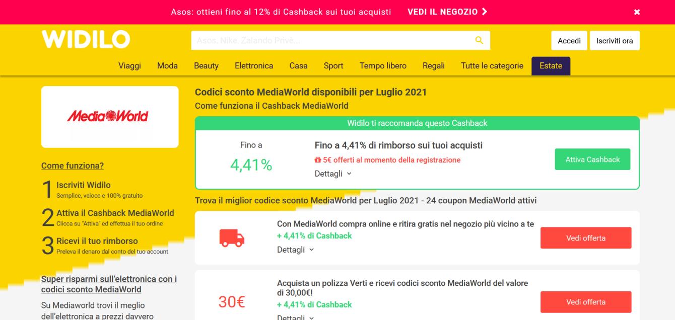 Widilo: cashback e codici sconto per risparmiare nello shopping online