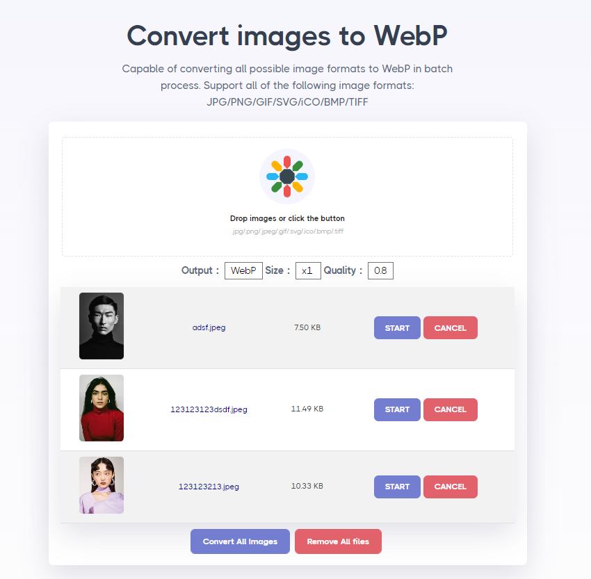 How to save JPG or PNG images to WebP images