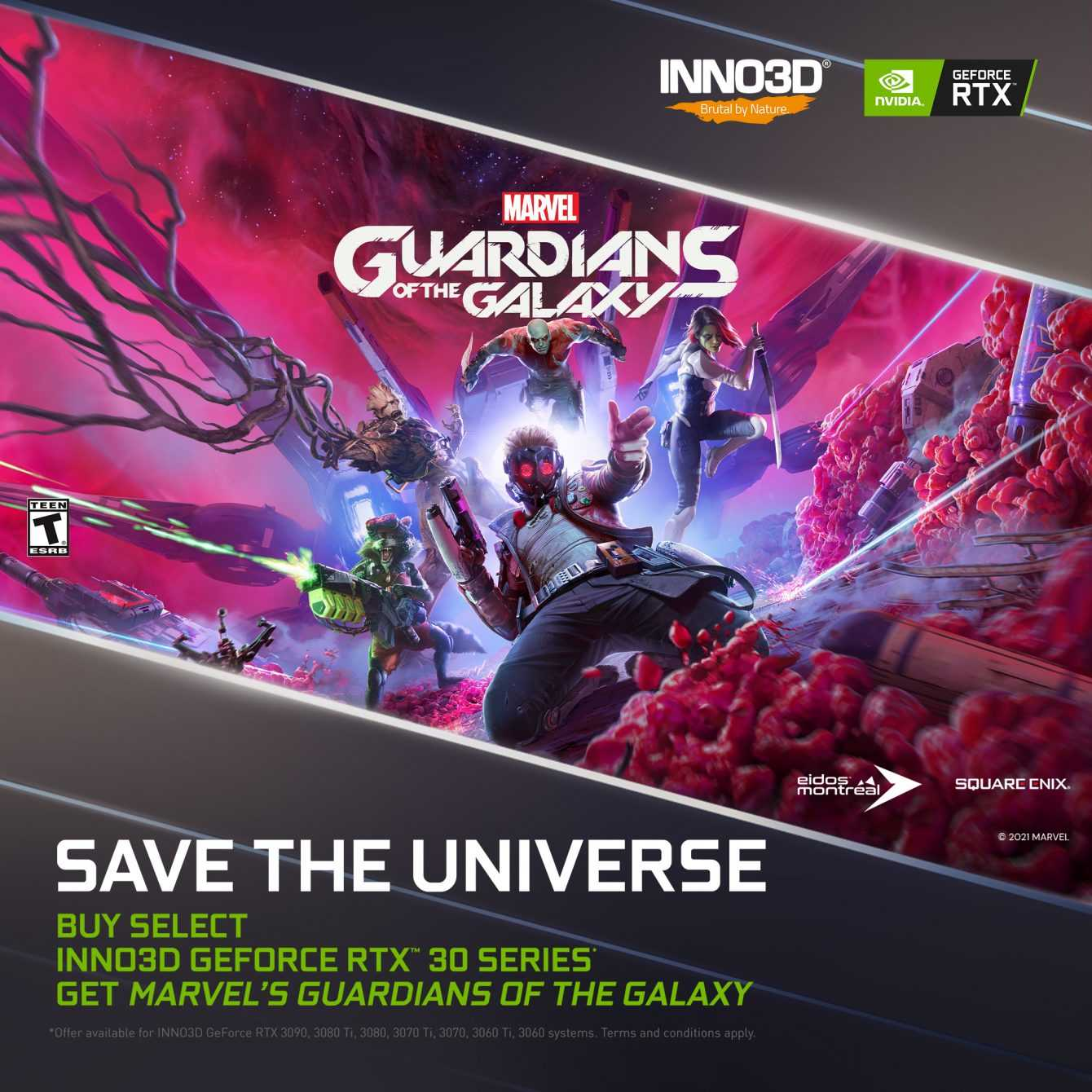 INNO3D regala Marvel's Guardians of the Galaxy con le sue NVIDIA RTX 30